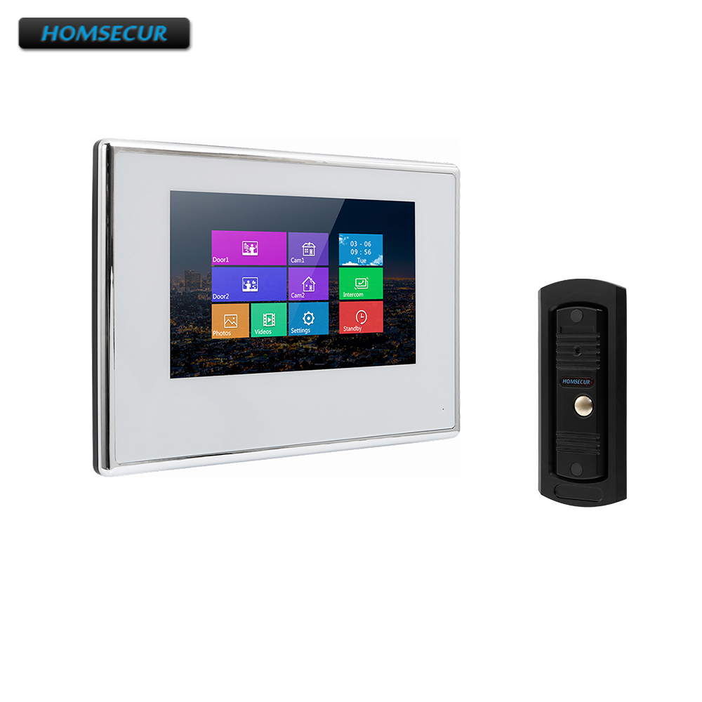 HOMSECUR 7 Wired Hands-free Video Door Entry Security Intercom BC011-B+BM718-W homsecur 8 wired hands free video door entry security intercom lcd color screen tc011 w tm801r b