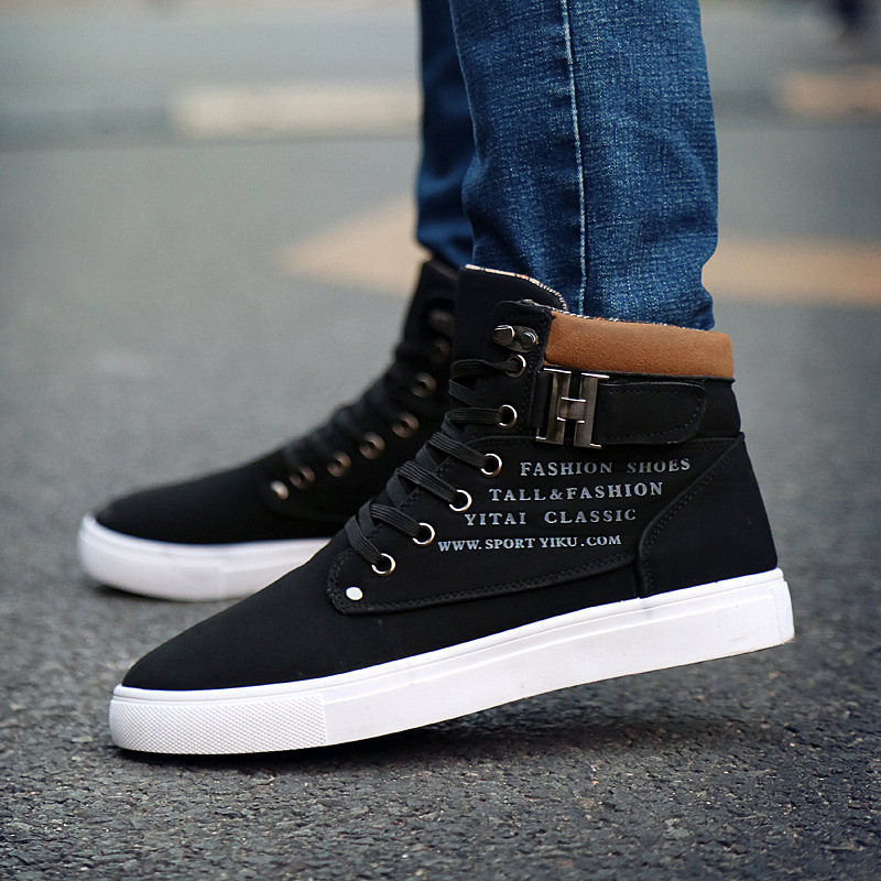 2017 Hot Men Shoes Fashion Warm Fur Winter Men Boots Autumn Leather Footwear For Man New High Top Canvas Casual Shoes Men new arrival high genuine leather comfortable casual shoes men cow suede loafers shoes soft breathable autumn and winter warm fur