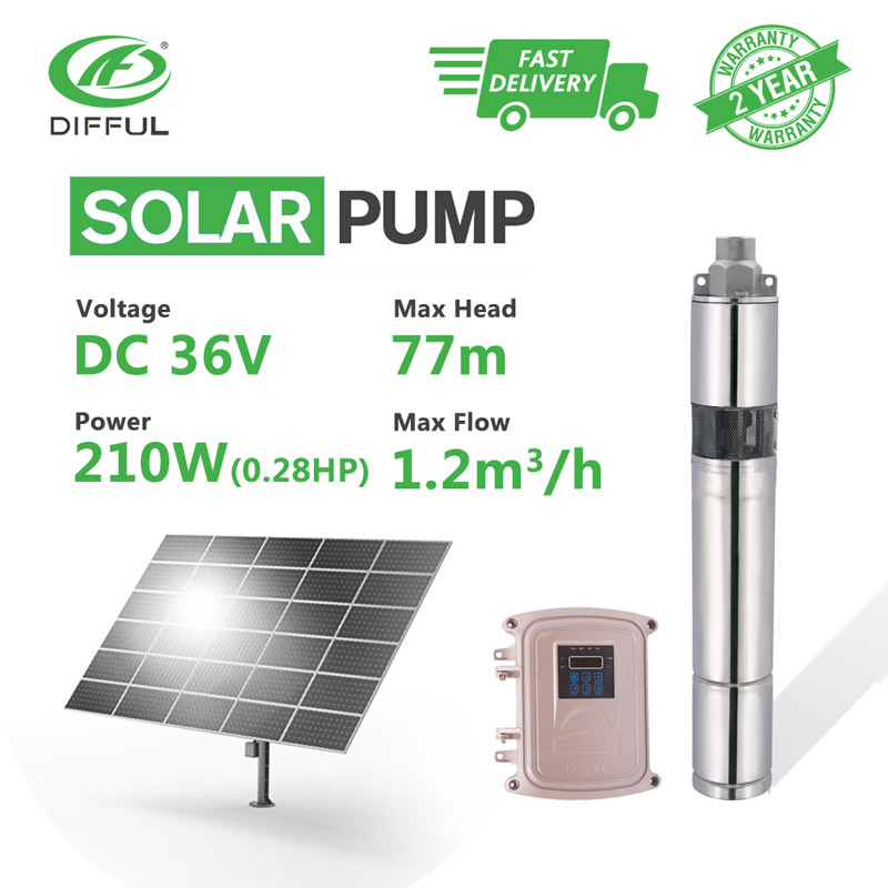 3 DC Screw Deep Well Solar Water Pump 36V 210W MPPT Control Box Industrial Off Grid Submersible Float Switch Shallow Automatic 50mm 2 inch deep well submersible water pump deep well water pump 220v screw submersible water pump for home 2 inch well pump