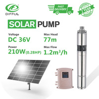 3 DC Screw Deep Well Solar Water Pump 36V 210W MPPT Control Box Industrial Off Grid Submersible Float Switch Shallow Automatic