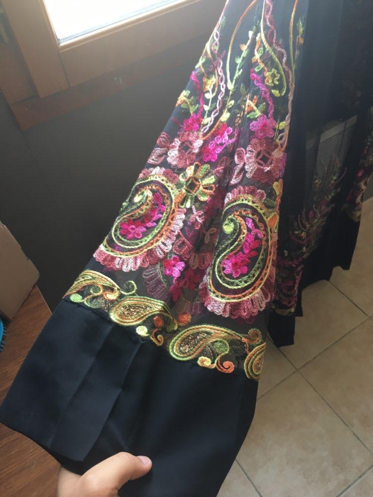 Plus Size Long Kimono Mujer Sexy Abaya Muslim Women Floral Embroidery Chiffon Mesh Cardigan Blouse Roupas Feminina Clothing photo review