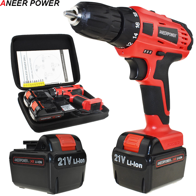 Eu 21v Cordless Drill Power Tools 1.5Ah Battery Capacity Drill Electric Screwdriver Electric Drill Mini Batteries Screwdriver free shipping brand proskit upt 32007d frequency modulated electric screwdriver 2 electric screwdriver bit 900 1300rpm tools