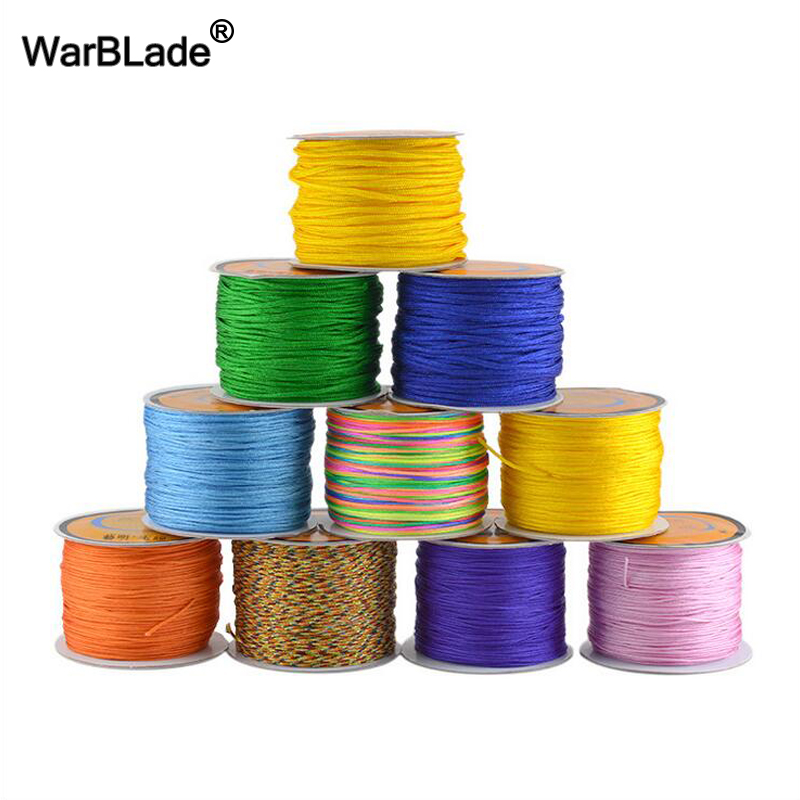 0.8mm 1mm 1.5mm 2mm Cotton Cord Nylon Thread Cord Chinese Knot Plastic String DIY Rope Bead Shamballa Bracelet Jewelry Making 100yards spool 1mm waxed cotton cord thread cord plastic string strap diy rope bead necklace european bracelet ma