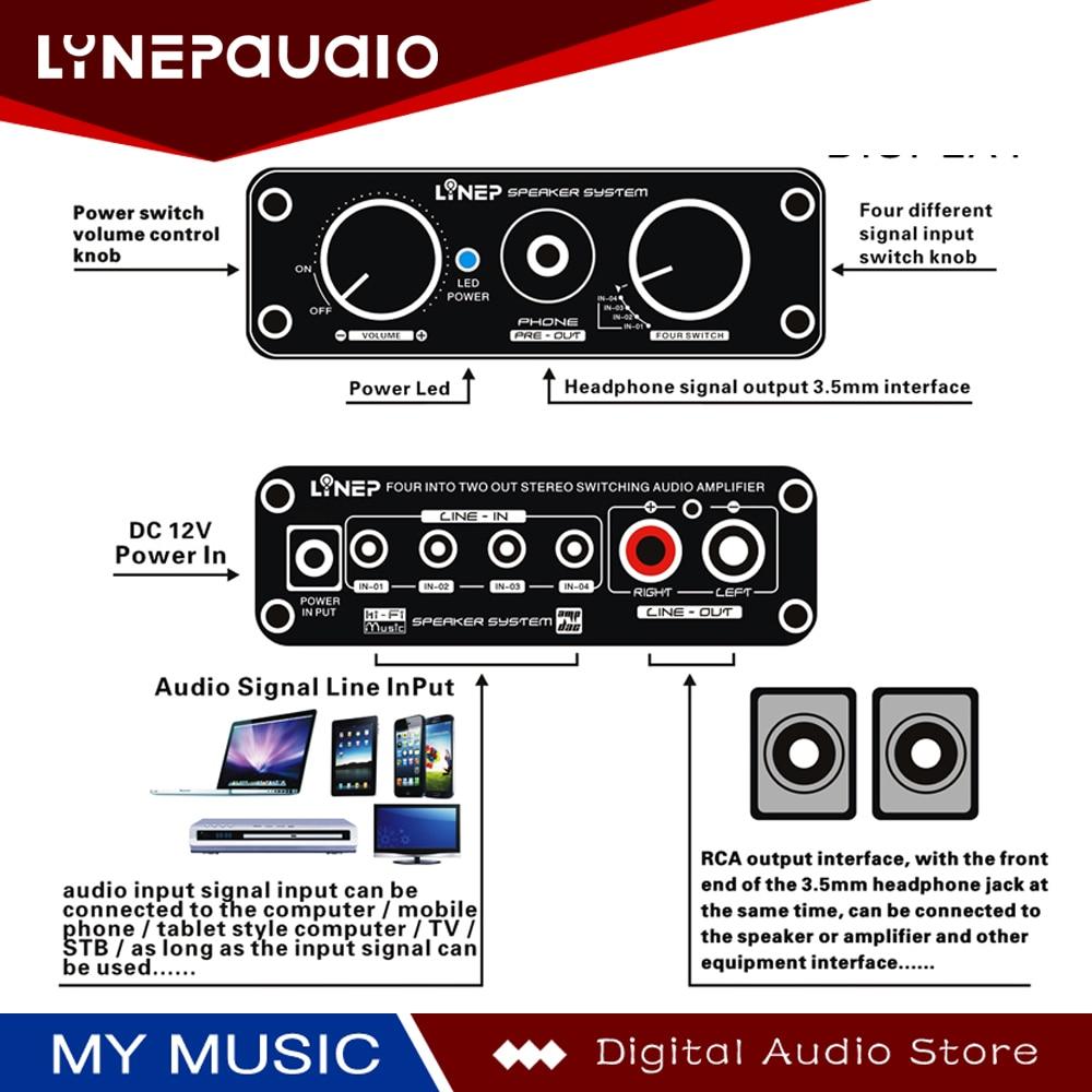 Купить с кэшбэком Audio Switcher 4 Input and 2 Output Audio Switch With Signal Amplification Volume Adjustment Function DC12V Power Supply