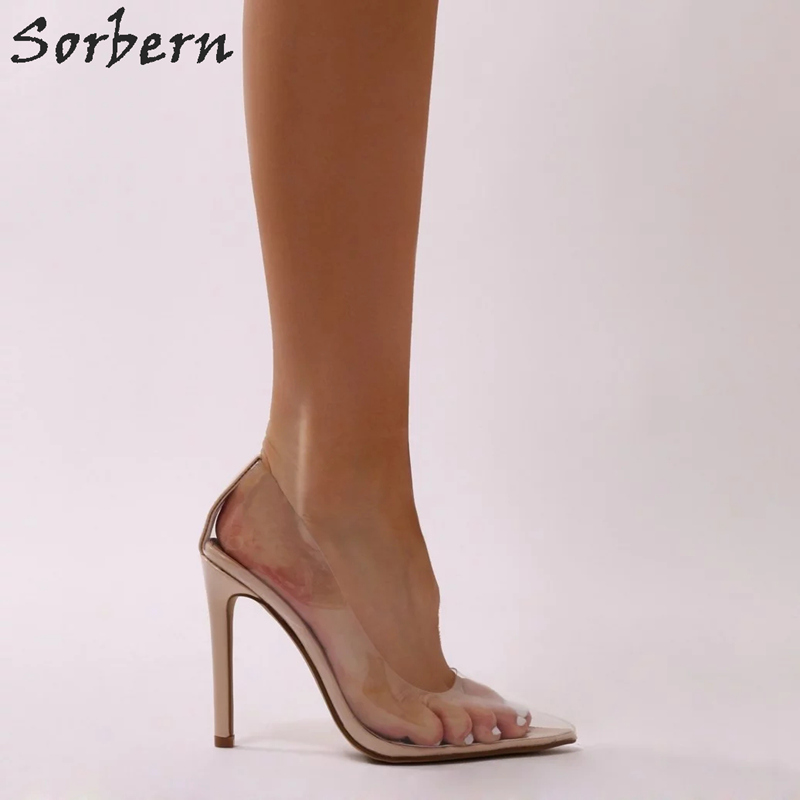 Sorbern bonbons clair Pvc sans lacet femmes pompes talons aiguilles bout pointu femmes talons Multi couleurs Perspex femmes chaussures pompes