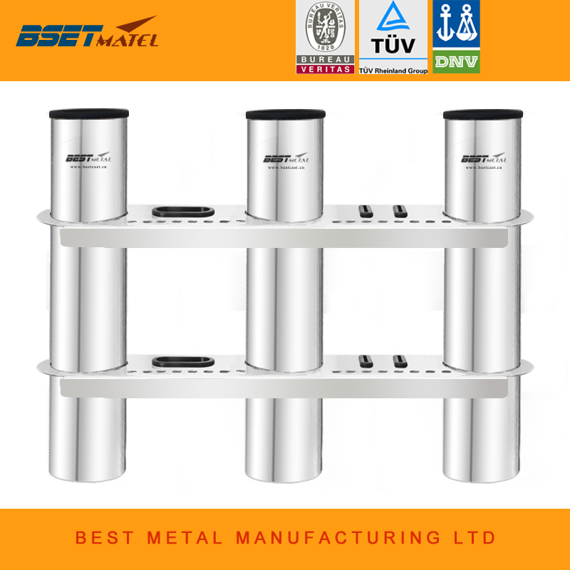 3 Tubes Link stainless steel 316 fishing boat rod holder fishing rod rack socket for marine fishing box kayak boat yacht magideal marine canoe kayak boat fishing pp 3 pole rod holder tube mount bracket rack pliers storage for water rowing boat acce