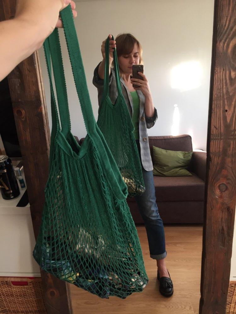 Casual Women Shopping Bag Reusable Fruit String Grocery Shopper Bags 2019 Hot Sale Cotton Tote Mesh Woven Net Shoulder Bag Flap photo review