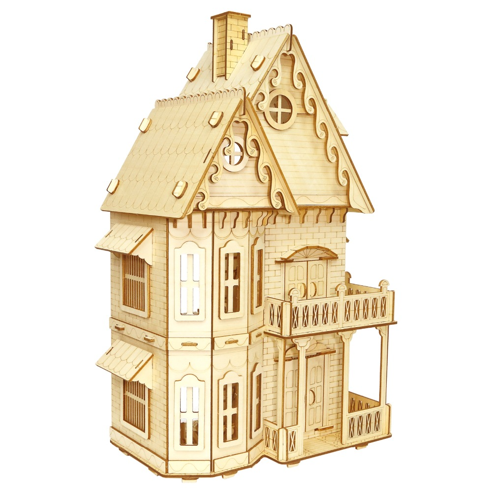 Gothic Villa Crafts Model Kids toys 3D Puzzle wooden toys Wooden Puzzle Educational toys for Children puzzled gothic house wooden 3d puzzle construction kit