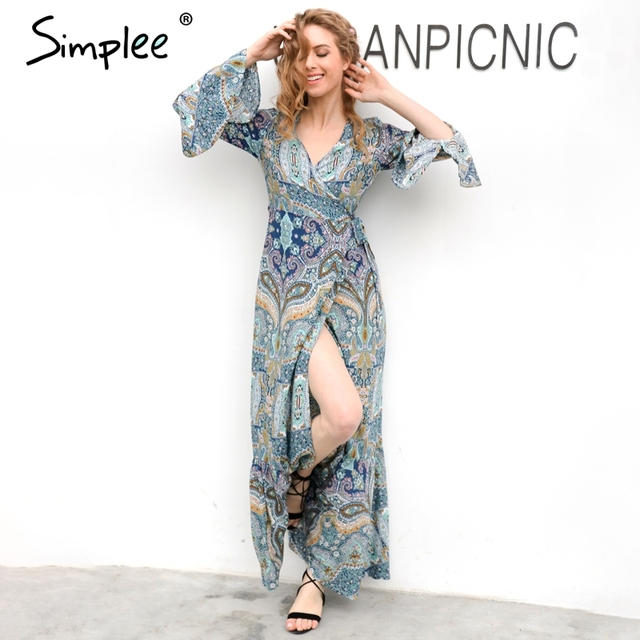 Simplee Boho floral print chiffon split long dress Women beach summer v neck kimono sexy dress Eleagnt sash wrap maxi dresses