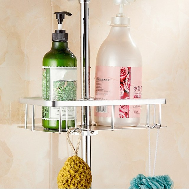 Gold Silver Bathroom Storage Rack Shampoo Lotion Holder Shower Bath Pole Shelf Organizer