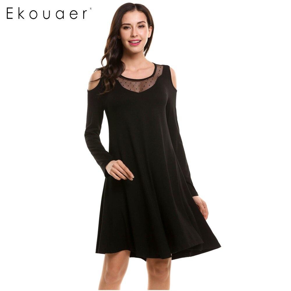 Ekouaer Women Cotton Nightgown Sleepwear Nightdress Mesh On Collar Sexy Cold Shoulder Women's Home Clothes Sleeping Dress