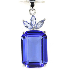 SheCrown Top AAA+ Rectangle 18x13mm Rich Blue Violet Tanzanite Gift For Sister Silver Pendant 32x13mm