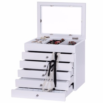 New Large White Wooden Jewelry Boxes