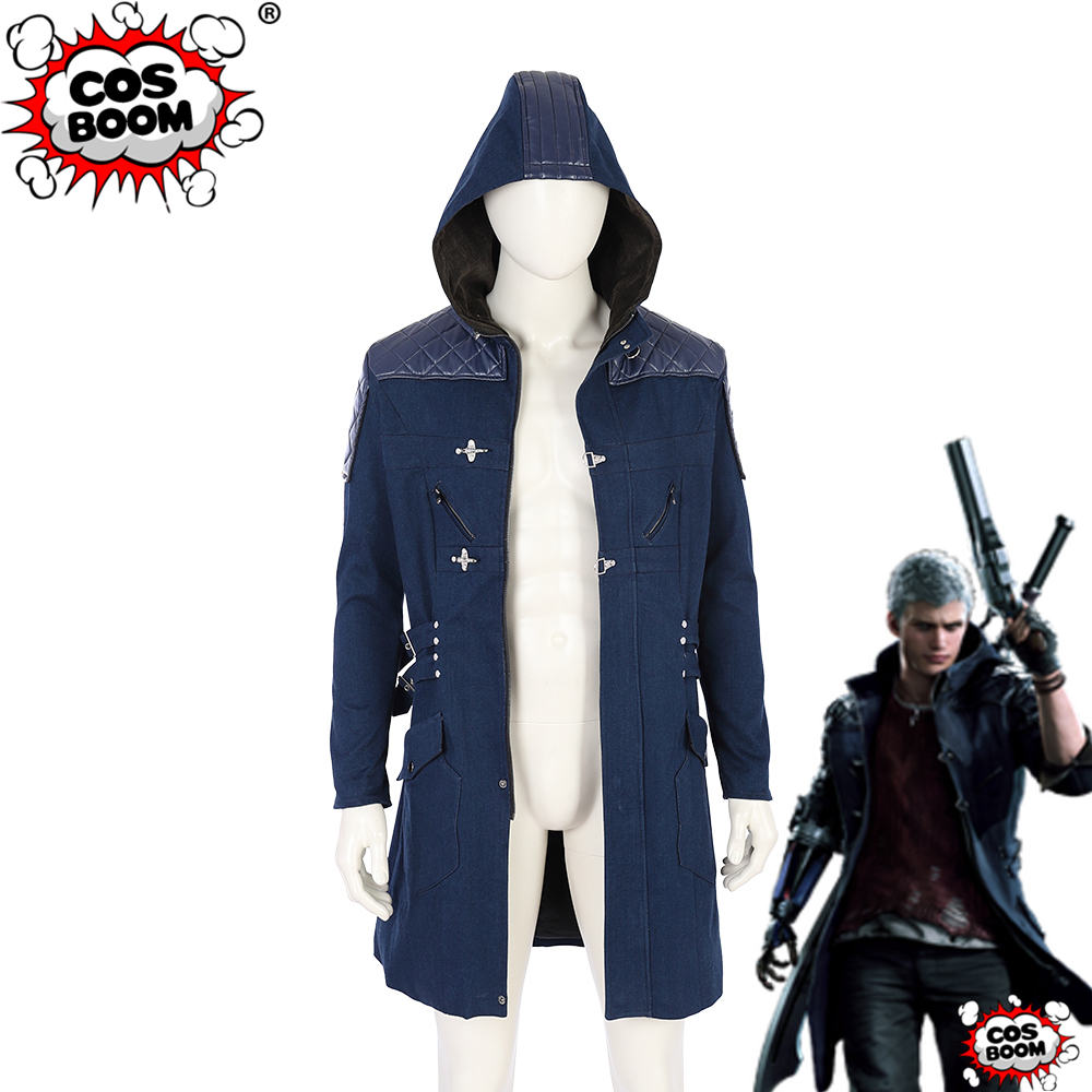 COSBOOM Nero DMC 5 Jacket Adult Halloween Carnival Party Costume Devil May Cry 5 Nero Blue Trench Devil May Cry Coat