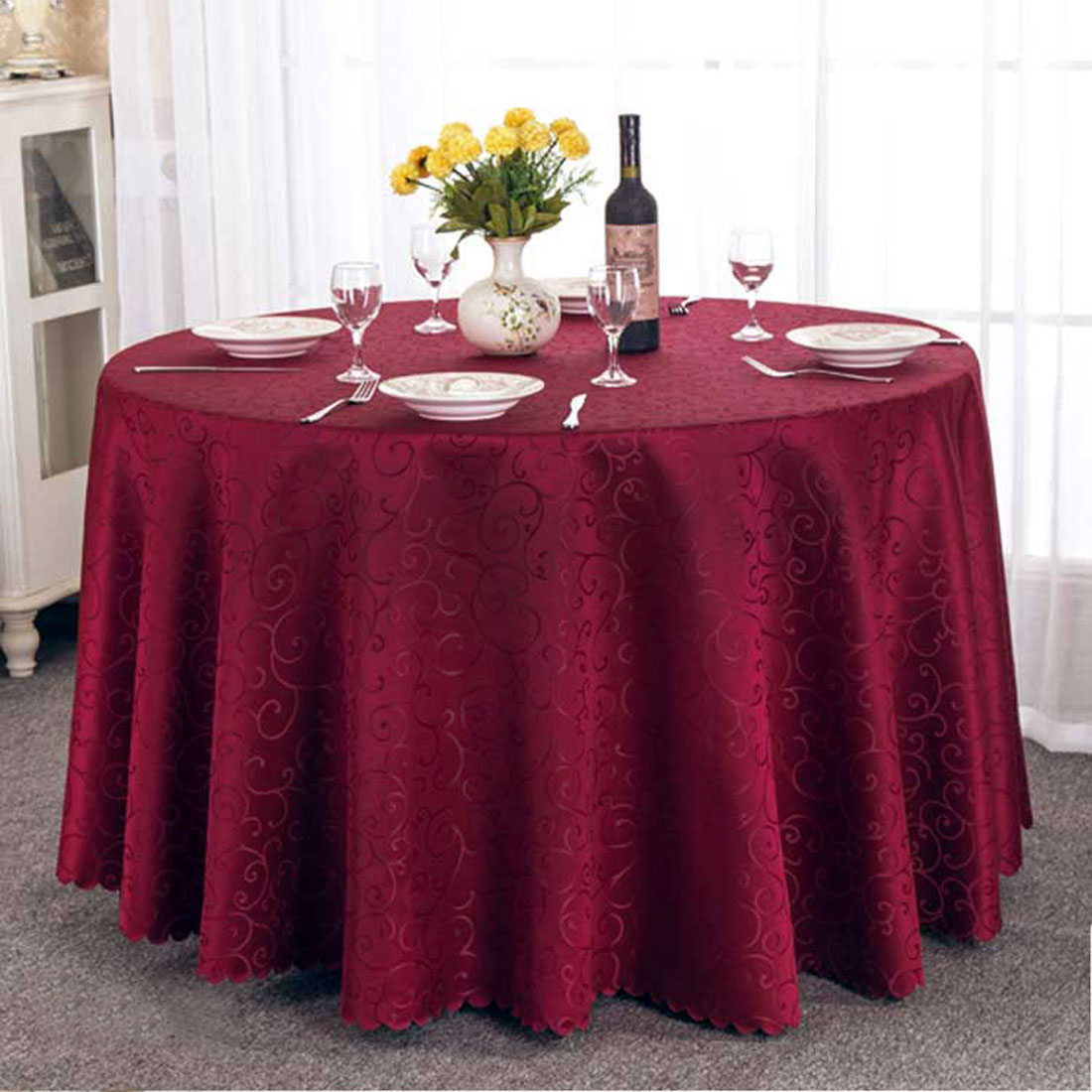 UXCELL Hotel Restaurant Polyester Round Flower Pattern Tablecloth Table  Cloth Cover Dark Red 1.8M Diameter
