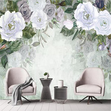 Vintage hand-painted rose background wall custom high-end mural factory wholesale wallpaper mural photo wall free shipping vintage japanese sushi ladies mural hot pot shop hand pulled noodle screen wallpaper mural