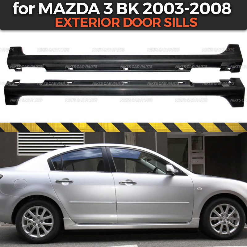 Exterior door sills case for Mazda 3 BK 2003 2008 side skirts ABS plastic body kit