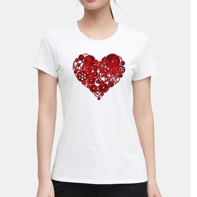 Harajuku Korean Style Slim Fit T Shirt Women Tops Heart gear Top Tshirt  Women Summer Cotton Tee Shirt Femme Clothes 9a5059178