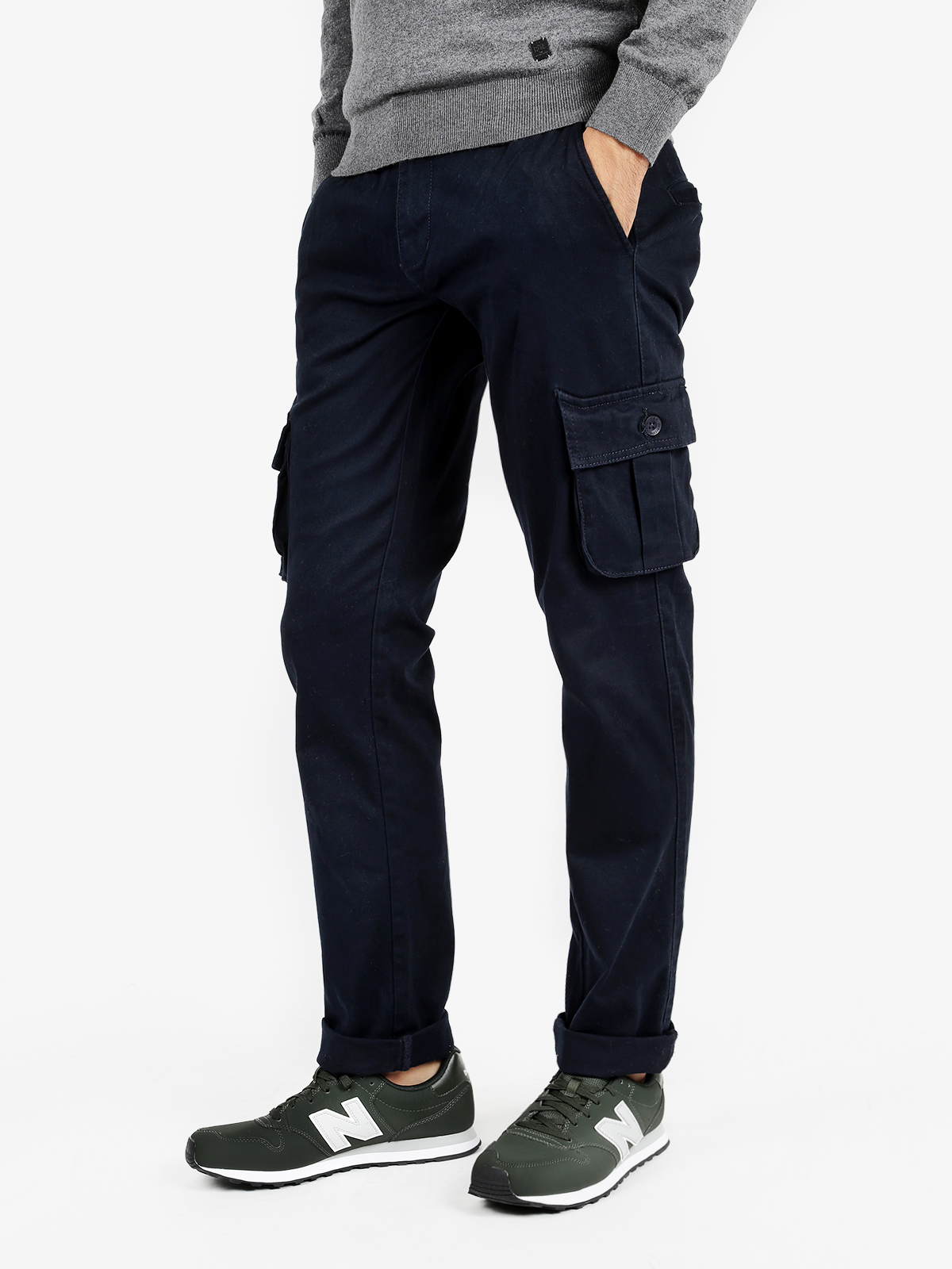 Cargo Pants Stretch Cotton-Blue