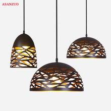 Lámparas colgantes Vintage de hierro negro hueco lámpara colgante accesorios de cocina mesa de comedor lámpara colgante avize luminaria iluminación del hogar
