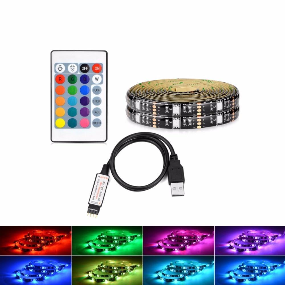 24Key Remote Control RGB Flexible LED Strip Light 50cm to 2m Waterproof 5V USB 5050 SMD 30LEDs/M Bar Car TV Decoration Lighting
