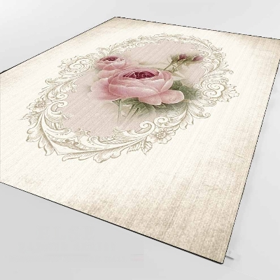 Else Brown Cream Vintage Red Roses Retro Flower 3d Print Non Slip Microfiber Living Room Decorative Modern Washable Area Rug Mat