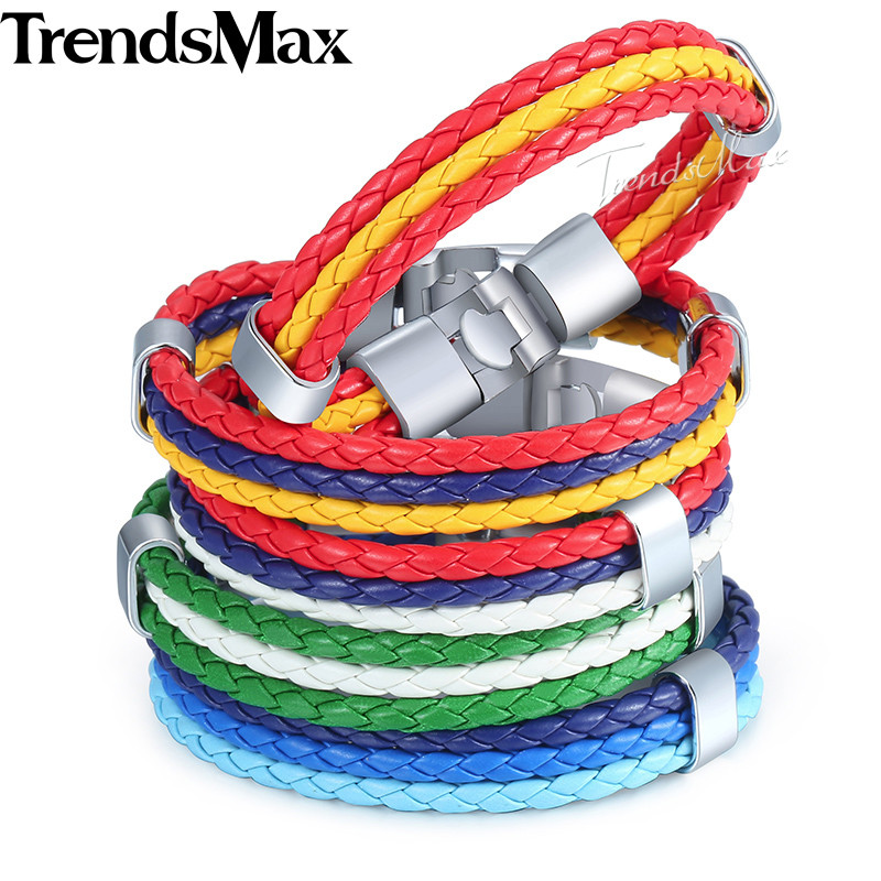 Trendsmax Mens Leather Bracelet 3 Strands National Flag Rope Chain Leather Bracelets For Men 18 Fashion Jewelry Gifts KLBW18 2