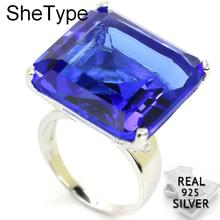 wellmade solid sterling silver square ring silver signet ring Big Heavy 14.2g Square Gemstone 22x22mm Violet Tanzanite Party 925 Solid Sterling Silver Ring 22x22mm