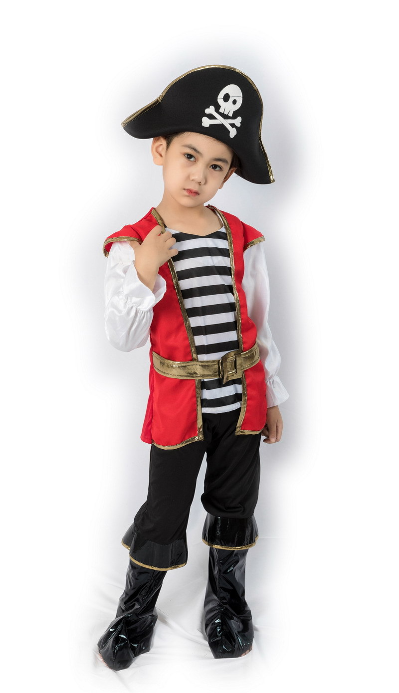 Toddler Kid Boys Halloween Adventure Ship Captain Pirate Costume Fancy Dress buccaneer Clothing Hat Set For Little Baby Child