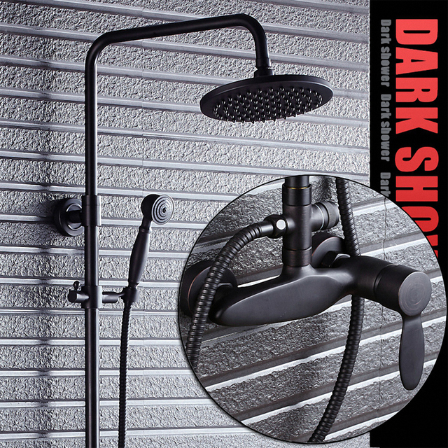 Luxury Bathroom Shower System, with Rainfall Overhead, Hand Shower, One Hand Control, Hot / Cold Water Mixer, Black, Solid Brass
