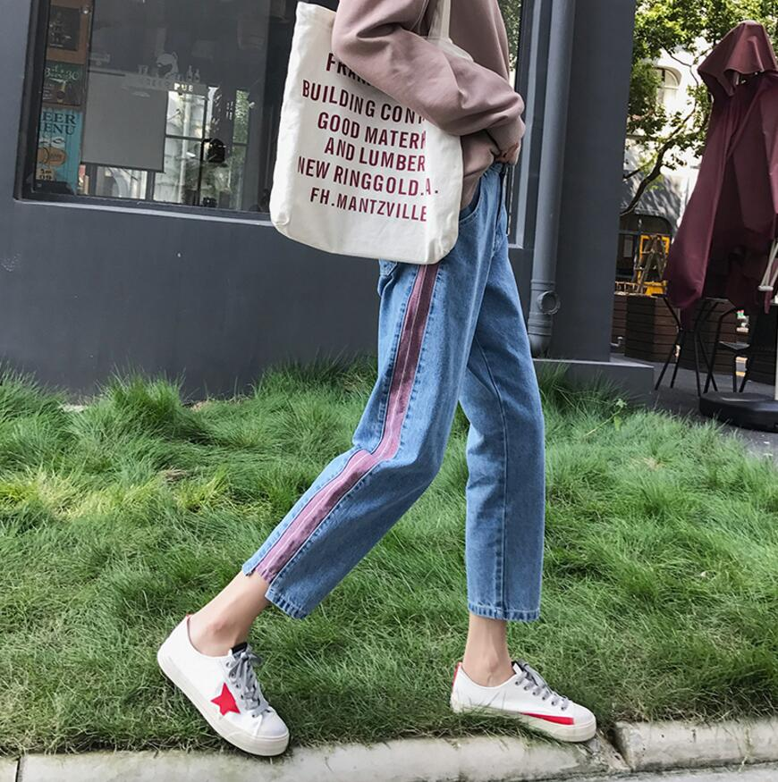 Plus size 5xl women Jeans 2018 spring summer Casual Denim Pants High Waist Ripped Jean Ladies Striped Side Bottom s1779 4