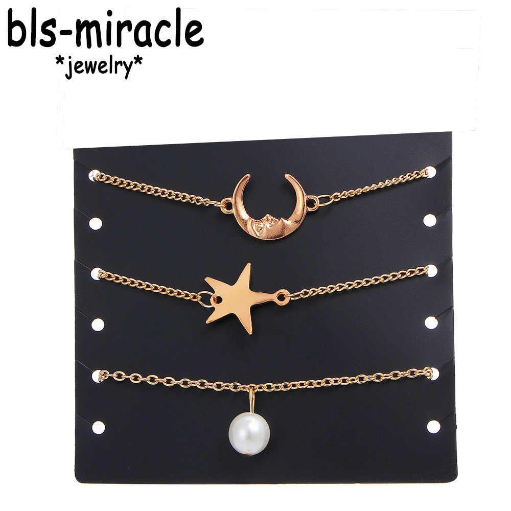 Bls-miracle Vintage Star Moon obrączki zestaw dla kobiet złoty kolor czeski bransoletka na kostkę Party Handmade biżuteria plażowa prezent BA-182