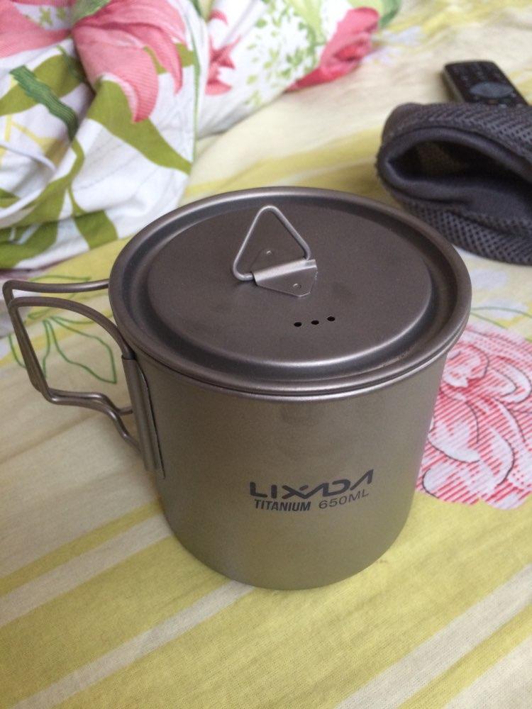 Lixada Ultralight Titanium Cup Mug 300/350/550/650ml Outdoor Water Cup Camping Picnic Water Mug Tableware with Foldable Handle