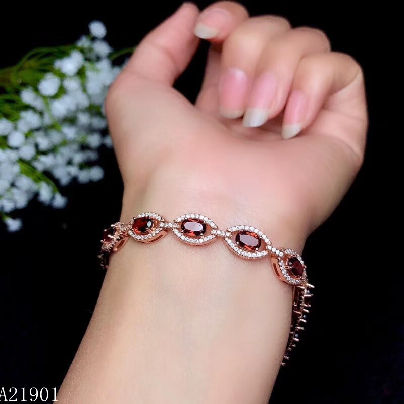 KJJEAXCMY fine jewelry 925 pure silver inlaid natural garnet lady Bracelet support detection