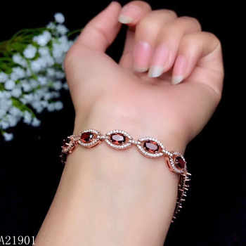 KJJEAXCMY fine jewelry 925 pure silver inlaid natural garnet lady Bracelet support detection - DISCOUNT ITEM  12% OFF All Category