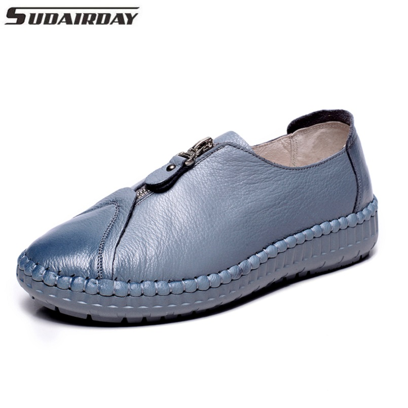 Women's Handmade Shoes Genuine Leather Flat Breathable Casual Shoes Woman Zipper Single Shoes Women Flats Loafers For Mother summer women casual shoes breathable mother shoes women flat platform soft comfortable braided shoes light loafers for woman