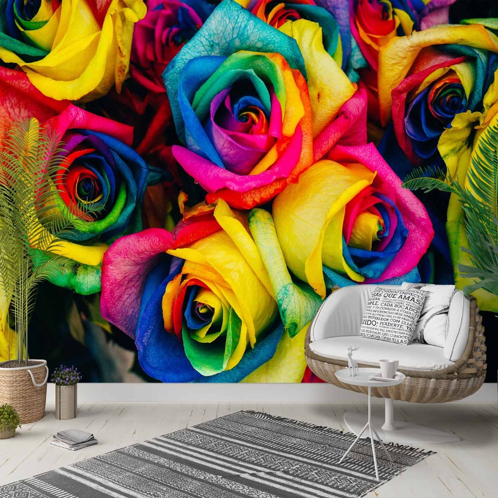 Else Yellow Pink Blue Green Roses Flowers 3d Photo Cleanable Fabric Mural Home Decor Living Room Bedroom Background Wallpaper