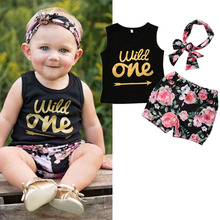 Neugeborenen Sommer Baumwolle Anzüge Baby Mädchen Kleidung Set Wild One Sleeveless Tank Top + Shorts + Stirnband Kleinkind 3pcs Outfits Kids Floral