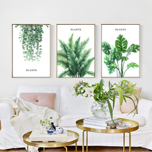 SD LINLEEHON Tropical Plant Leaves Canvas Art Print Poster Nordic Green Wall Pictures Kids Room Large Painting No Frame