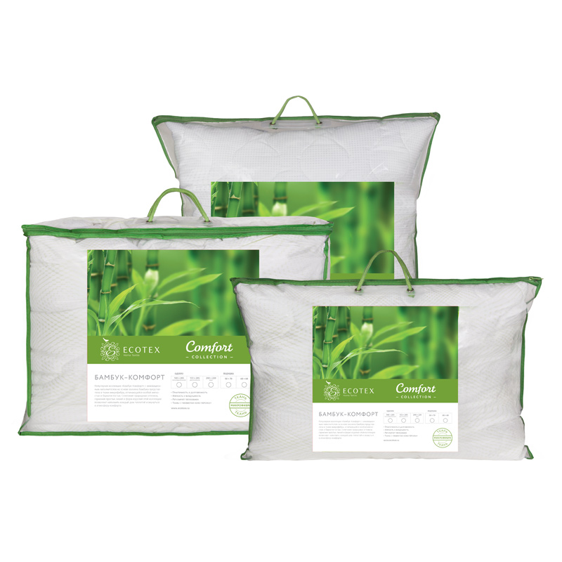 Pillow Bamboo collection Comfort. Production company Ecotex(Russia). pillow fiber collection comfort production company ecotex russia
