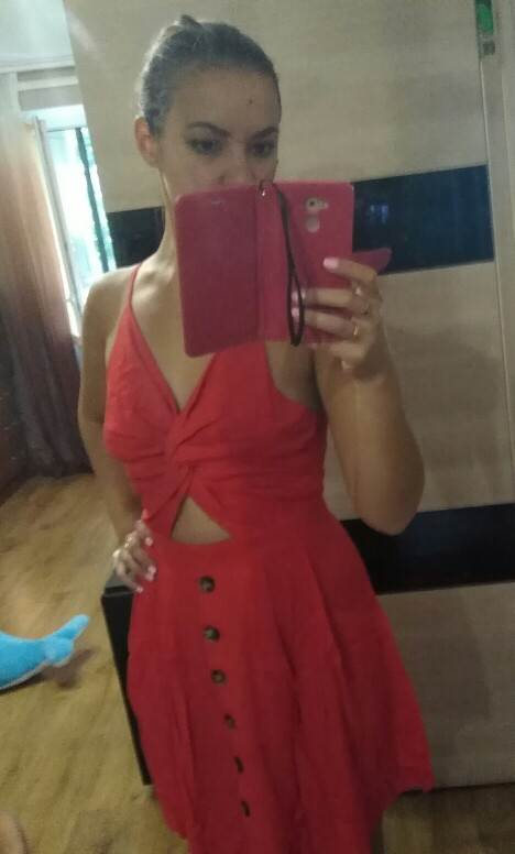 COLROVIE Twist Front Fit & Flare Cami Dress 2018 Summer Spaghetti Strap Backless Bow Tie Sexy Dress Red Modern Women Dress