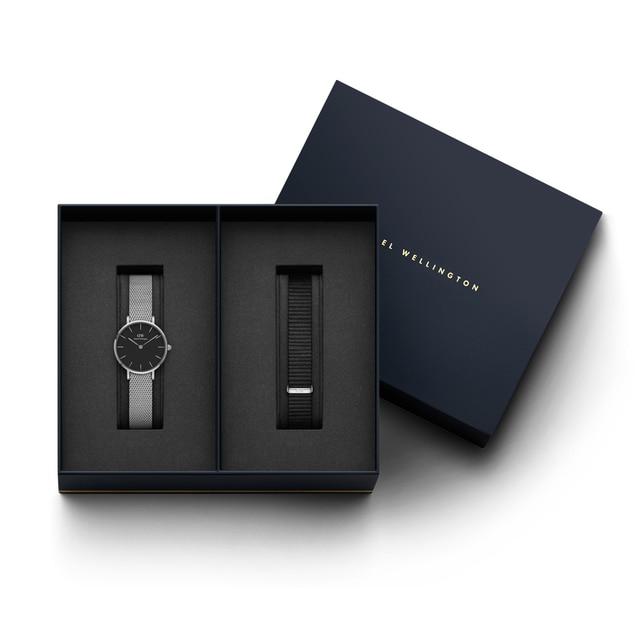 Наручные часы Daniel Wellington Classic Petite Sterling 28 мм S Black + часовой ремешок Daniel Wellington Classic Petite Cornwall для часов 28 мм S