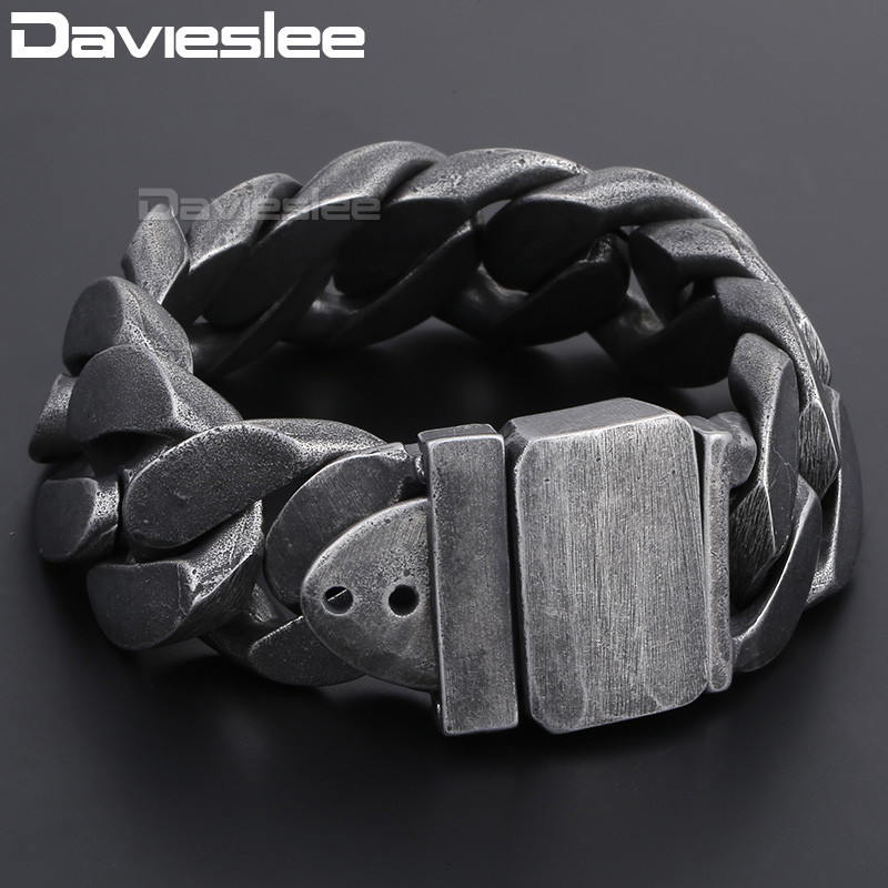 Davieslee 24mm Gunmetal 316L Stainless Steel Bracelet for Men Curb Link Chain Men's Bracelet Jewelry DLHB333 trendsmax bracelet for men 316l stainless steel curb cuban link chain bracelet totem knot charm wristband men fashion gift hb10