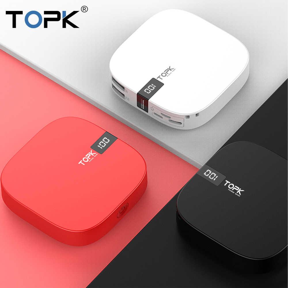 TOPK Mini Power Bank 1000 mAh 2 Cổng USB Di Động Sạc Pin Ngoài Dành Cho Xiaomi Mi9 Samsung Galaxy S10 iPhone x XS