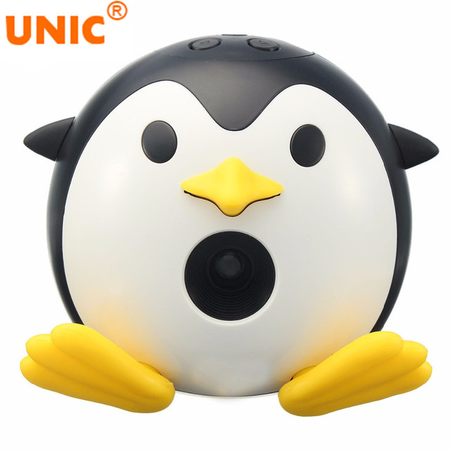 2017 UNIC Q1 Mini DLP Projector Portable Cute Penguin LED Projector Home Cinema Video Cartoon Beamer for Entertaining for Gift