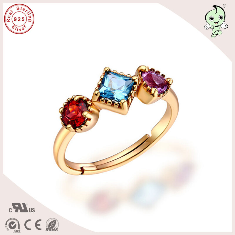 High Quality Good Silver Jewelry Gift Gold Beautiful Natural Stone 925 Sterling Silver Couple Ring