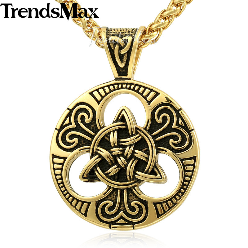 Trendsmax Knot Triquetra Mens Pendant Necklace Chain 316L Stainless Steel Wheat Link Silver Gold Tone KHP530 no 7 stylish 316l stainless steel hand skeleton pendant necklace black silver