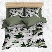 Outra 6 Pedaço Verde Flor Tropical Árvore de Folhas de hera 3D Impressão Cetim de Algodão Capa Dupla Duvet Conjunto de Cama Fronha folha de cama