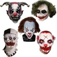 Scary Pennywise Clown with Hair Masks Takerlama Joker Horror Movie Batman Dark Knight Cosplay Mask