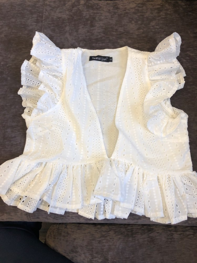 Elegant White Embroidery Crop Top Blouse Shirts Ruffles Feminino Casual Sexy Summer Blouse Deep V Neck  Blusa Mujer photo review